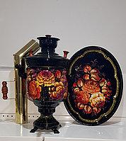 """Самовар на дровах (угольный), с росписью """"Огненные цветы"""" 5л, в комплекте с подносом"""