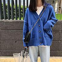 Кофта кардиган на пуговицах, синий цвет