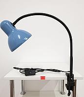 Лампа настольная на струбцине гибкая стойка Голубая