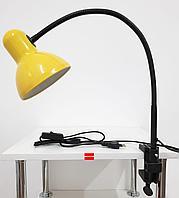 Лампа настольная на струбцине гибкая стойка Желтая
