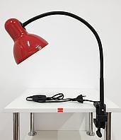 Лампа настольная на струбцине гибкая стойка Красная