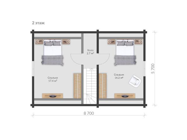 план двухэтажного деревянного дома из бруса, проект и строительство деревянного жилого дома.