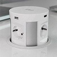Shelbi Выдвижной настольный блок на 4 розетки 200B, 2 USB розетки, 2 HDMI розетки, Беспроводная Зарядка
