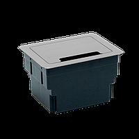 Встраиваемый, Настольный блок на 4 модуля, Серебро