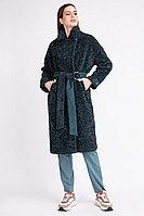 Пальто демисезонное, экомех, 44-48, изумрудное