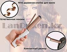 Мини плойка для завивания волос дорожная SN-012 26.6 см бело-коричневая
