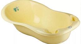 Детская ванна овальная Тега Dog and Cat Пес и Кот со сливом, желтая 102 см со сливом