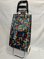 Хозяйственная сумка-тележка для продуктов на 2-х колесах. Высота 97 см, ширина 34 см, глубина 24 см.