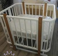 Детская кроватка - трансформер Оливия + 2 матраса. цвет белый/бук
