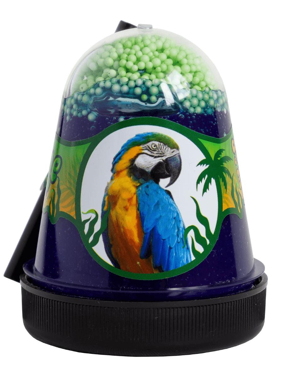 """Slime """"Jungle"""" с зелеными пенопластовыми шариками Попугай 130 г"""
