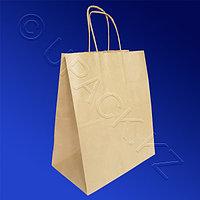 Россия Пакет-сумка бумажная прочная 28х24+14см крафт ручки крученые 70гр/м2