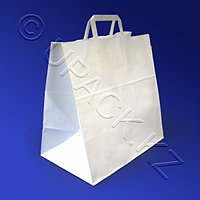 Kazakhstan Пакет-сумка бумажная прочная 37х32+20см белая ручки плоские 70гр/м2