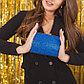 Клатч женский, отдел на фермуаре, цвет синий, фото 5