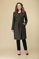 Женское осеннее драповое зеленое большого размера пальто DaLi 2192 зелень 48р.
