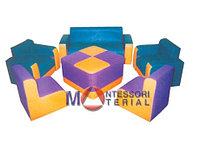 ЦВЕТИК-СЕМИЦВЕТИК-модульная мебель из поролона для ясельного возраста (диван, 4 кресла,столик)