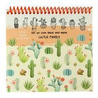 Скетчбук А6, 40 листов на гребне 'Семья кактусов', жёсткая подложка, картонная обложка, блок 100 г/м2