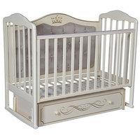 Кроватка 'Кедр' Helen-7, мягкая спинка, ящик, цвет слоновая кость