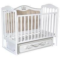 Кроватка 'Кедр' Helen-7, мягкая спинка, ящик, цвет белый