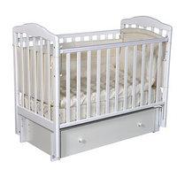 Кроватка детская Helen 3, автостенка, универсальный маятник, закрытый ящик, цвет белый