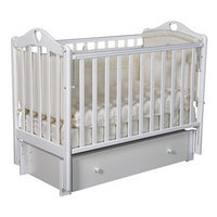 Кроватка детская Кедр 'Каролина' 4/6, универсальный маятник, закрытый ящик, цвет белый