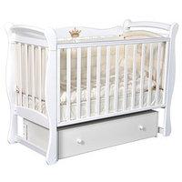Кроватка детская Viola 1, автостенка, ящик, универсальный маятник, цвет белый