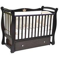Кроватка детская Viola 1, автостенка, ящик, универсальный маятник, цвет шоколад