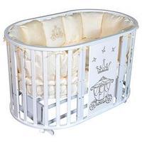 Кроватка-трансформер 6 в 1 Sofia 2 'Корона', универсальный маятник, круглая/овальная, цвет белый
