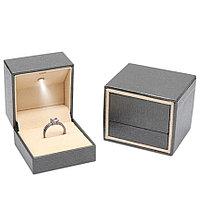 Ювелирная коробочка премиум класса с Led подсветкой. Серый, фото 1