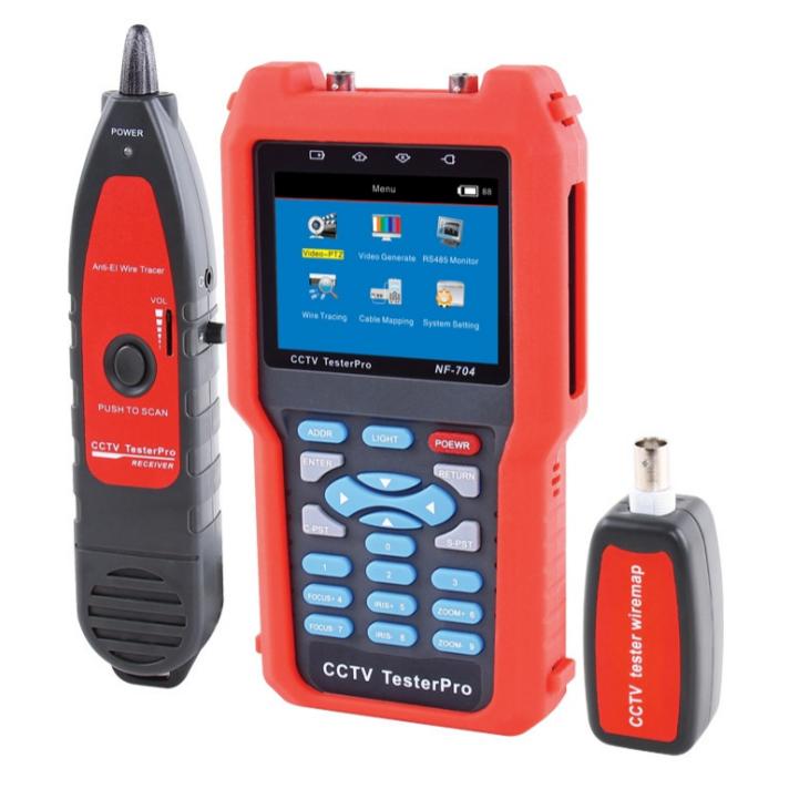 Цифровой тестер систем видеонаблюдения  NF-704 (Видео, LAN тестер, трассоискатель, WIREMAP)