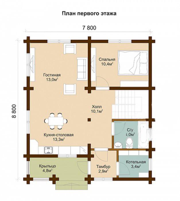 проект деревянного дома, проект двухэтажного дома из бруса, деревянный дом из бруса строительство.
