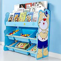 Детский стеллаж для игрушек мишка/голубой, фото 1