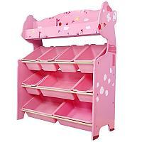 Детский стеллаж для игрушек олененок/розовый 4 полки, фото 1