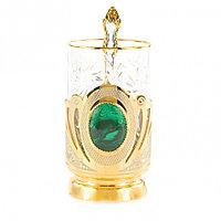 """Позолоченный подстаканник """"Малахитовый"""" со стаканом и ложкой в подарочной упаковке Златоуст"""