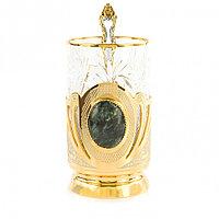 """Позолоченный подстаканник с камнем """"Клинохлор"""" стакан 300 мл в подарочной упаковке Златоуст"""