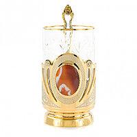 """Позолоченный подстаканник """"Сердолик"""" с хрустальным стаканом 300 мл в подарочной упаковке Златоуст"""