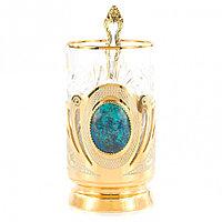 """Оригинальный подстаканник с камнем """"Шаттукит"""" хрустальный стакан в подарочной упаковке Златоуст"""