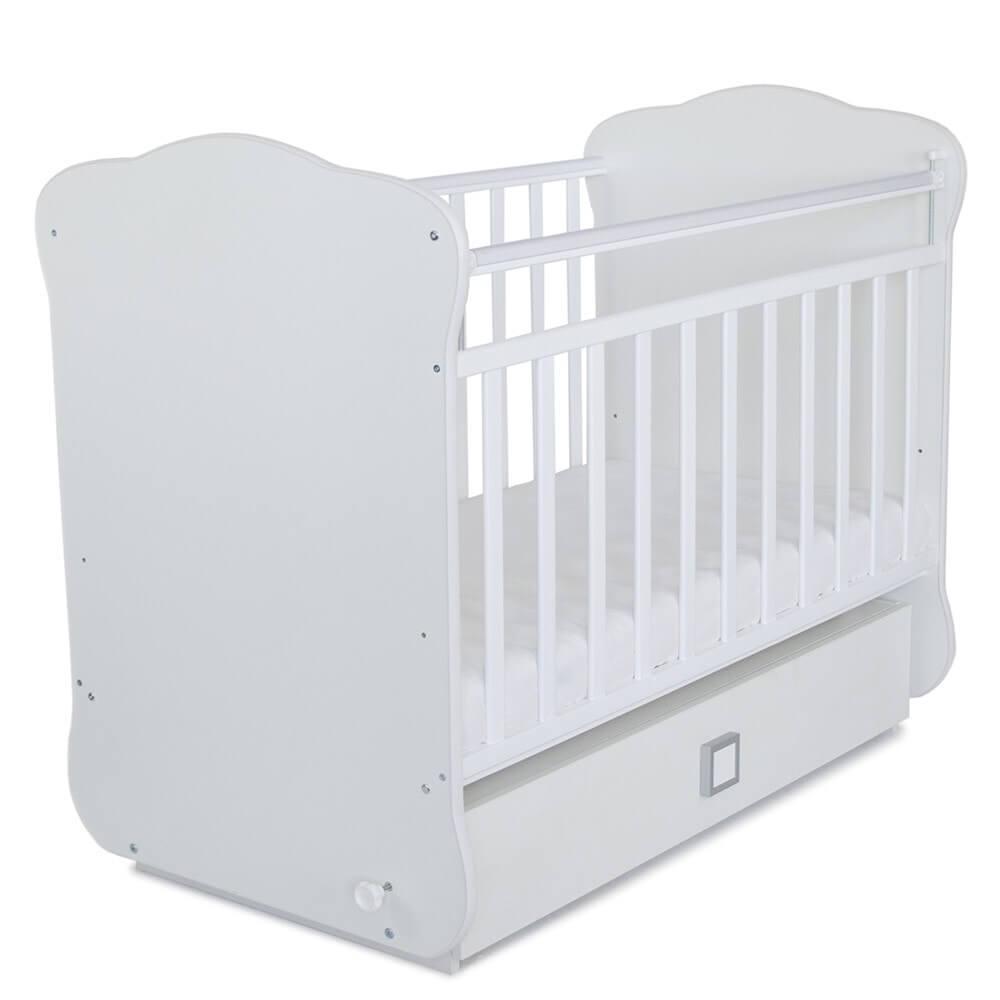 Кровать детская СКВ-4 с маятником и ящиком,опуск.планка,накладка ПВХ, белый