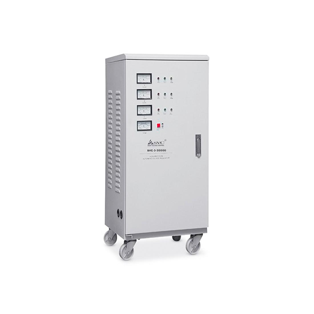 Стабилизатор, SVC, SVC-3-30000, Мощность 30кВА/24кВт,, Трёхфазный, Индикация режимов работы, Диапазо