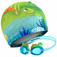 Очки шапочка для плавания детские дино