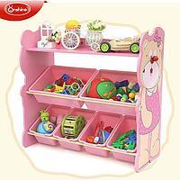 Полка Монтессори для хранения игрушек мишка/розовый