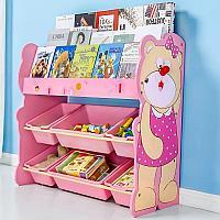 Детский стеллаж для хранения игрушек мишка/розовый, фото 1