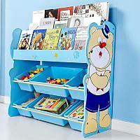 Детский стеллаж для хранения игрушек мишка/синий, фото 1