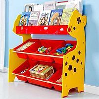 Детский стеллаж для хранения игрушек олененок/красный, фото 1