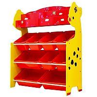 Детский стеллаж для игрушек олененок/красный 4 полки, фото 1