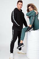 Мужской осенний трикотажный черный спортивный спортивный костюм HIT 0312 черный 46р.