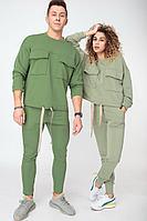 Женский осенний трикотажный зеленый спортивный спортивный костюм HIT 3074 оливковый 42р.