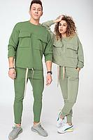 Женский осенний трикотажный зеленый спортивный спортивный костюм HIT 3074 оливковый 50р.