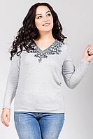 Женский осенний трикотажный серый большого размера джемпер La rouge 2952 серый-(графит) 48р.