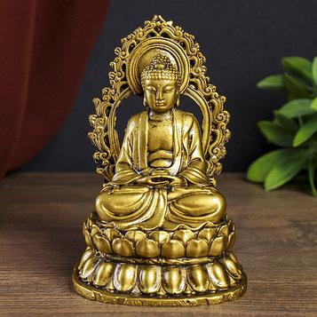 "Нэцке полистоун под бронзу ""Медитация будды"" 14,5х9,5х8,3 см"