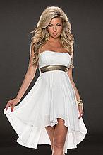 Белоснежное шифоновое платье со шлейфом